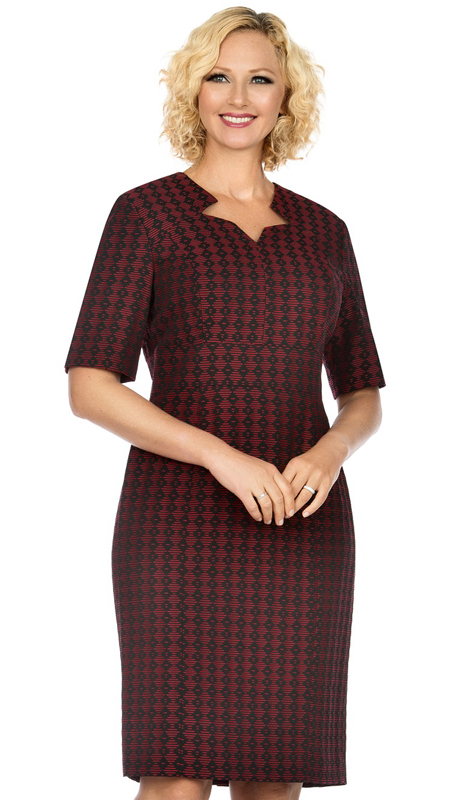 Giovanna D1515-BR ( 1pc Novelty Short Sleeve Dress With V-Neckline )