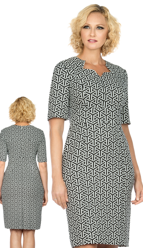 Giovanna D1515-BW ( 1pc Novelty Short Sleeve Dress With V-Neckline )