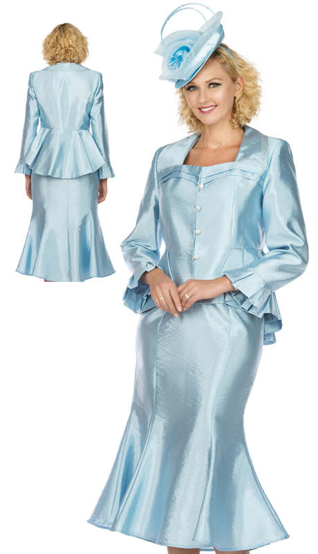 Giovanna 1122-IB ( 2pc Tafetta Ladies Church Suit With Flare Skirt, And Subtle Pattern )
