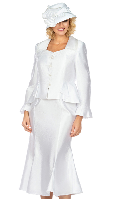 Giovanna 1122-W ( 2pc Tafetta Ladies Church Suit With Flare Skirt, And Subtle Pattern )