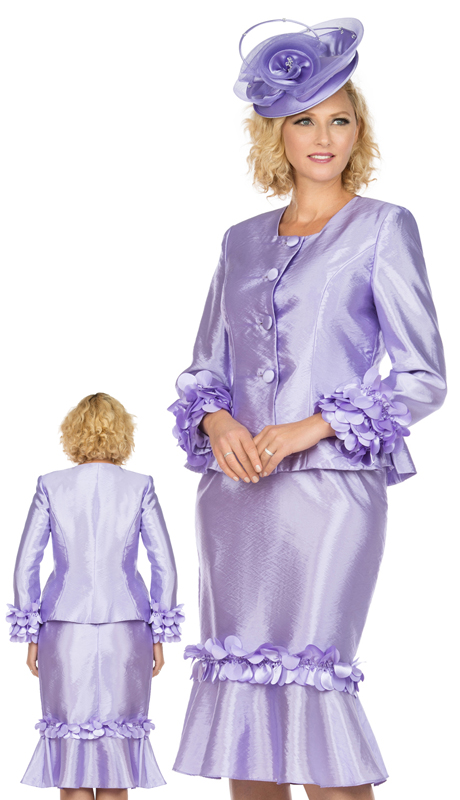 Giovanna 1140-L ( 2pc Tafetta Womens Suit For Sunday With Elegant Floating Petal Design On Sleeves And Skirt )