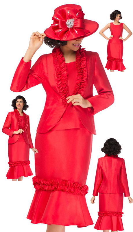 Giovanna G1108-RW ( 3pc Silk Look Suit For Church With Double Ruffle On Neck And Skirt )
