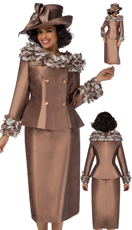 Giovanna G1103-CH ( 2pc Silk Look Suit For Sunday With Floating Flower Petals On Neck And Cuff )