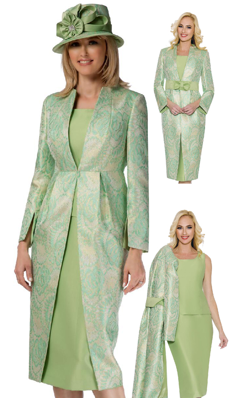 Giovanna G1102-MG ( 3pc Brocade Womens Church Suit With Duster Jacket, Solid Cami And Skirt )