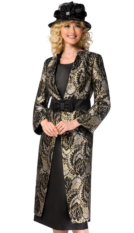 Giovanna G1102-BG ( 3pc Brocade Womens Church Suit With Duster Jacket, Solid Cami And Skirt )