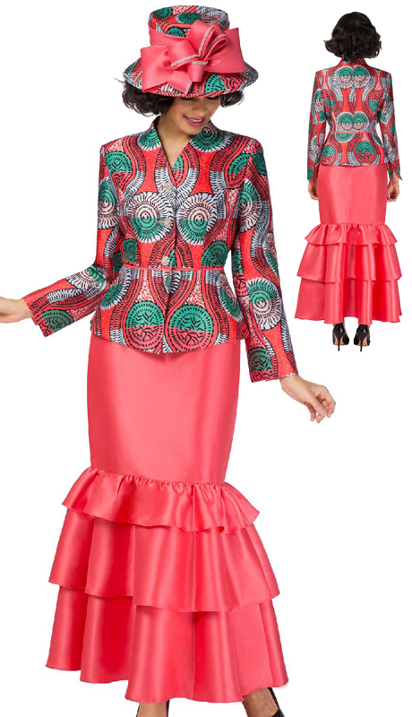 Giovanna G1092RW-CM ( 2pc Silk Look Suit For Church With Printed V-Neck Jacket And Ruffled Skirt )