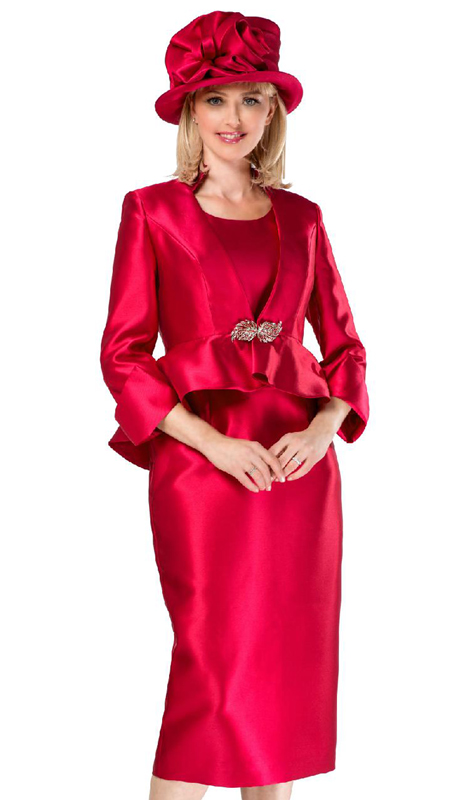Giovanna G1085-CR ( 3pc Womens Silk Look Skirt Suit With Peplum Jacket And Rhinestone Clasp Button )