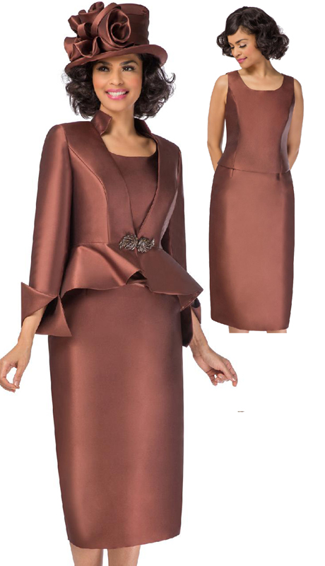 Giovanna G1085-CH ( 3pc Womens Silk Look Skirt Suit With Peplum Jacket And Rhinestone Clasp Button )