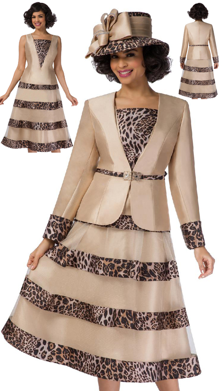 Giovanna G1107-CB-CO ( 2pc Silk Look Womens Dress With Leopard Trim And Rhinestone Clasp Button )