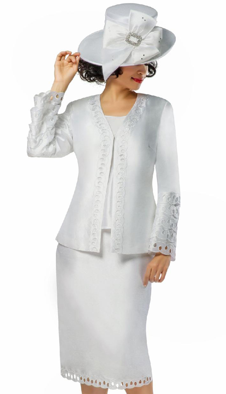 Giovanna G1106-WH ( 3pc Shantung Ladies Church Suit With Embroidered Layered Cutout Detail )