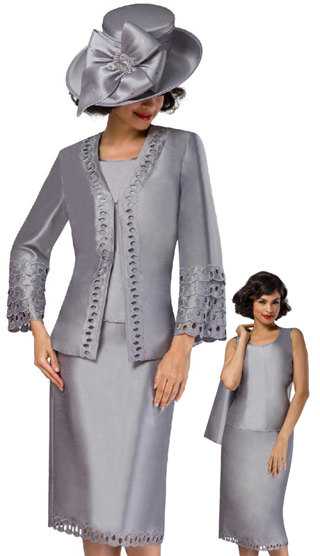 Giovanna G1106-SI ( 3pc Shantung Ladies Church Suit With Embroidered Layered Cutout Detail )