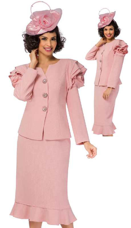 Giovanna G1105-PI ( 3pc Renova Sunday Suit With Full Layered Rose On Shoulders )