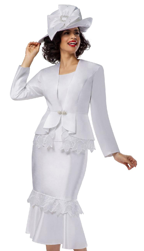 Giovanna G1104-WH ( 3pc Silk Look Suit For Church With Organza Trim, Peplum Jacket And Flare Skirt )