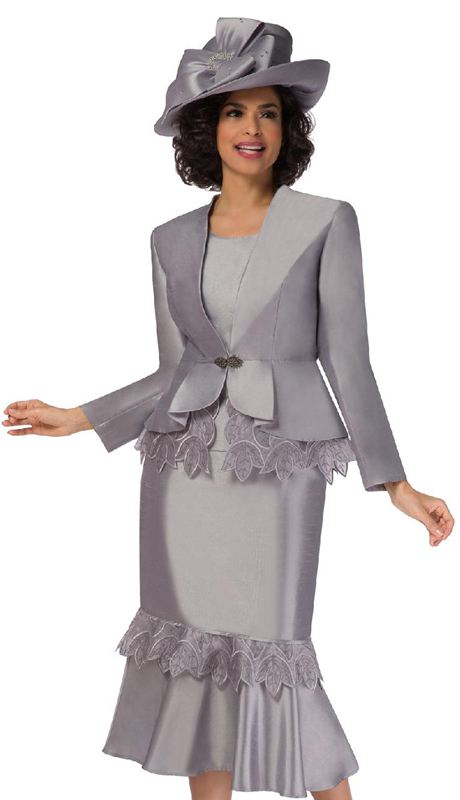 Giovanna G1104-SI ( 3pc Silk Look Suit For Church With Organza Trim, Peplum Jacket And Flare Skirt )