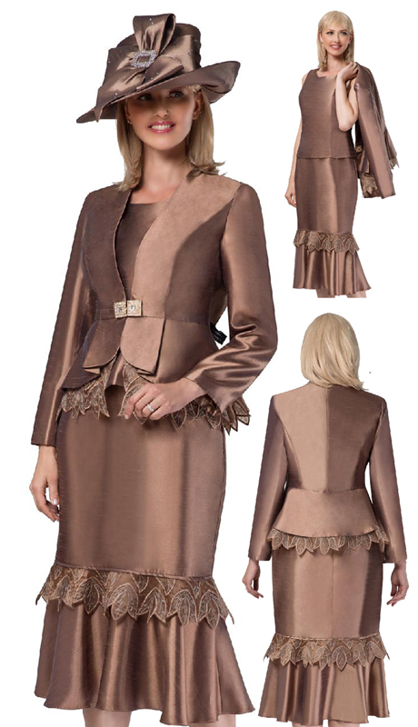 Giovanna G1104-CH ( 3pc Silk Look Suit For Church With Organza Trim, Peplum Jacket And Flare Skirt )