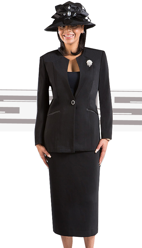 GV0301-BLK-CO ( 3pc PeachSkin Giovanna Womens Suit )