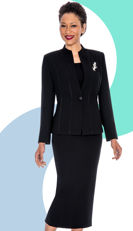 Giovanna 0867-BLK  ( 3pc PeachSkin Ladies Church Suit With Rhinestones Brooch )