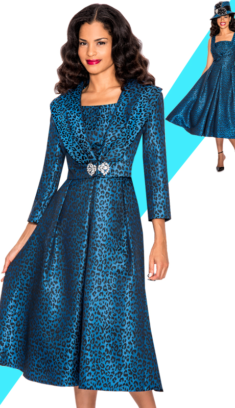 Giovanna 1449-BL  ( 2pc Silk Look Women Church Dress With Wide Lapels And Rhinestones Buckle )