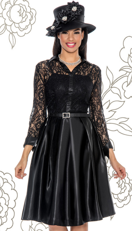 Giovanna 1452-BLK-IH ( 1pc Silk Look With Lace Women Dress For Church With Belt )