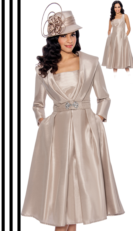 Giovanna 1424-CHA-610 ( 2pc Shantung Jacket With Rhinestone Embellishment And Pleated Dress )