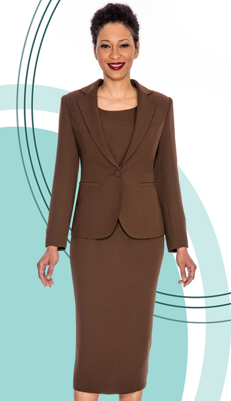 Giovanna 0823-BRN ( 3pc Peachskin Womens Suit With Jacket, Cami And Skirt )