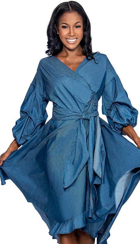 Giovanna 1475-DB ( 1pc Denim Look Ladies Wrap Dress For Church With Fabric Waist Belt And Puff Sleeves )