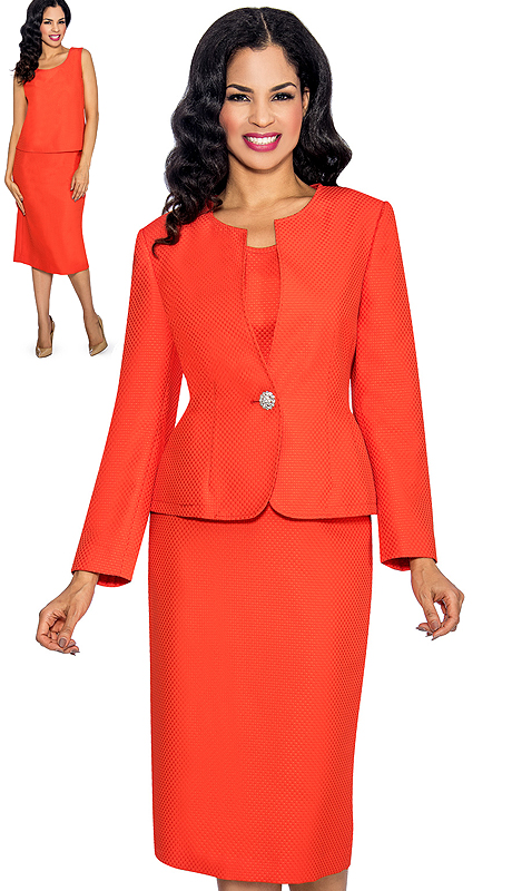 Giovanna S0713-OR ( 3pc Novelty Ladies Church Suit With Jacket, Cami, Skirt And Rhinestone Button )