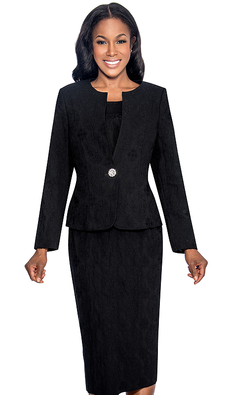 Giovanna S0713-BLK ( 3pc Taffeta Ladies Church Suit With Jacket, Cami, Skirt And Rhinestone Button )