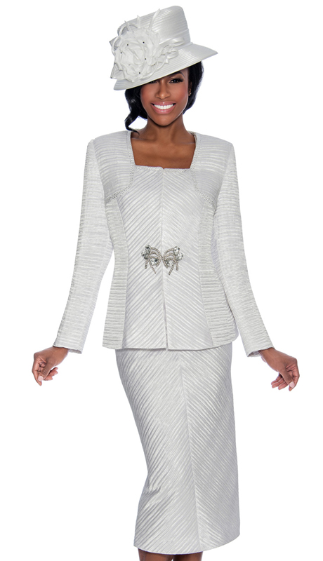 Giovanna 0896-IH ( 2pc Jacquard Ladies Church Suit With Stripe Textured Jacket, Skirt And Large Rhinestone Embellishment )