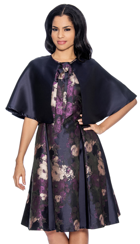 Giovanna D1334-P-315 ( 2pc Silk Look Dress In Novelty Print With Solid Cape )