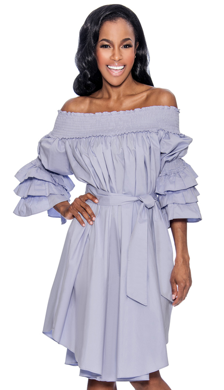 Giovanna D1476-L ( 1pc Ladies Dress With Off-Shoulder Neckline And Tiered Ruffled Sleeve )