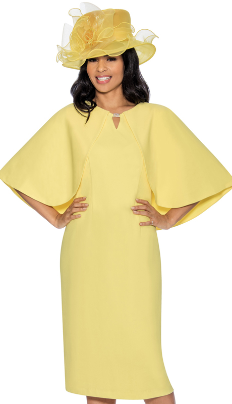 Giovanna D1482-L-IH ( 2pc Peach Skin Womens Church Dress With Bat Wing Sleeves )
