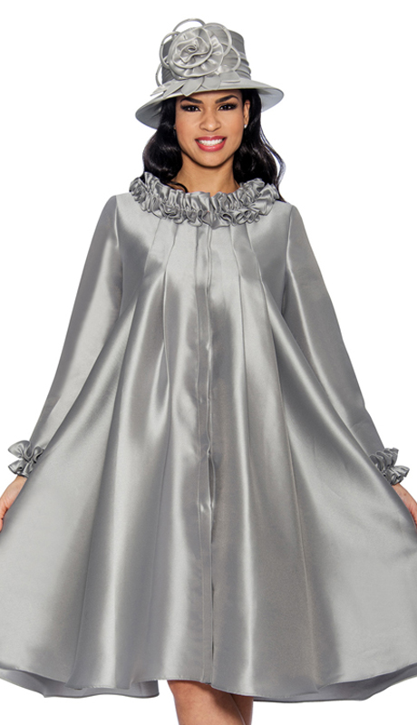 Giovanna D1493-S-315 ( 1pc Silk Look Dress For Church With Ruffled Neckline And Cuffs )