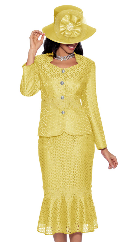 Giovanna G1048-LY-IH ( 2pc Novelty Suit For Sunday With Rhinestone Buttons And Fancy Trim )