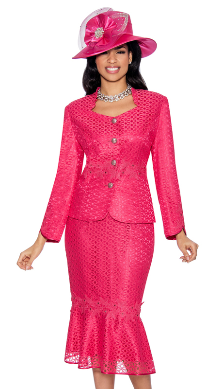 Giovanna G1048-RP-IH ( 2pc Novelty Suit For Sunday With Rhinestone Buttons And Fancy Trim )