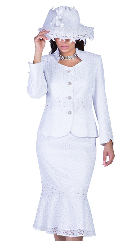 Giovanna G1048-W-IH ( 2pc Novelty Suit For Sunday With Rhinestone Buttons And Fancy Trim )