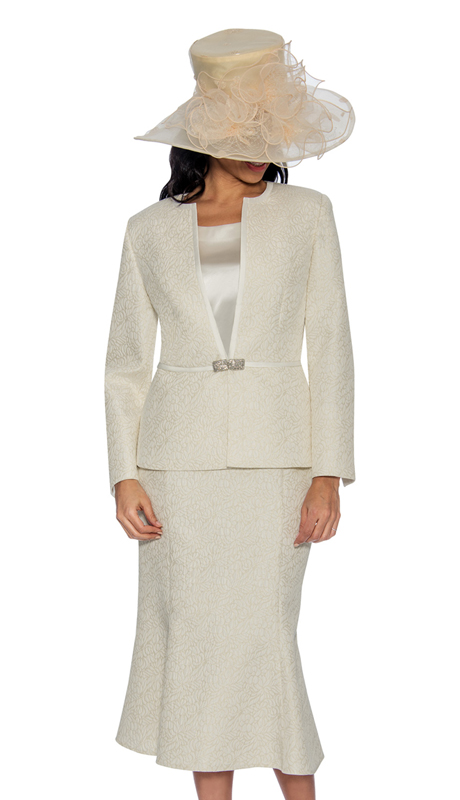 Giovanna G1052-CH-IH ( 3pc Brocade Church Suit With Rhinestone Button And Silk Cami )