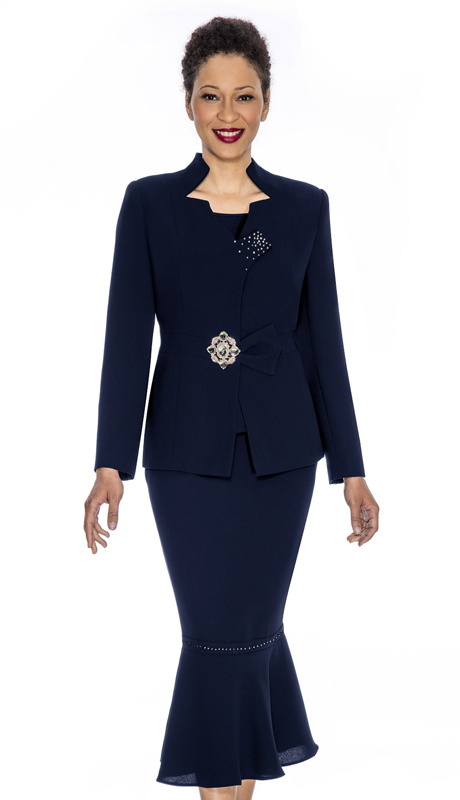 Giovanna 0822-NA ( 3pc PeachSkin Ladies Sunday Suit With Rhinestone Trim And Decorative Brooch )