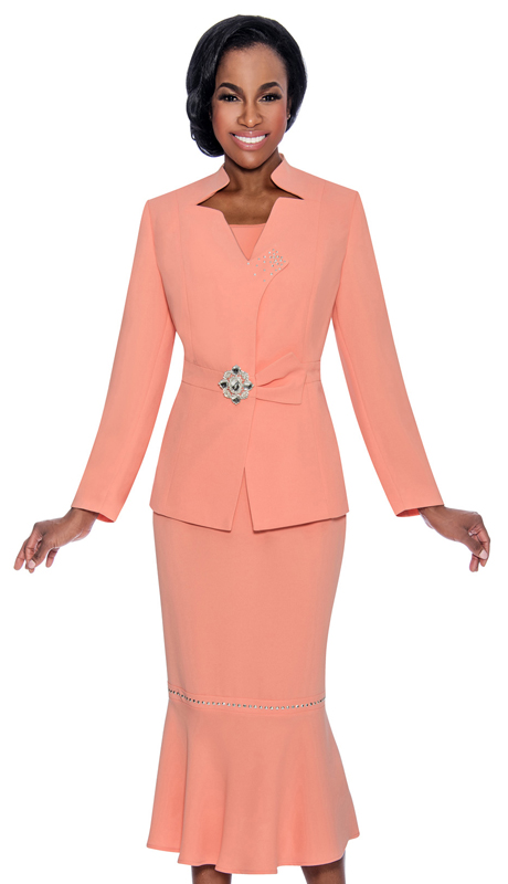 Giovanna 0822-PE ( 3pc PeachSkin Ladies Sunday Suit With Rhinestone Trim And Decorative Brooch )