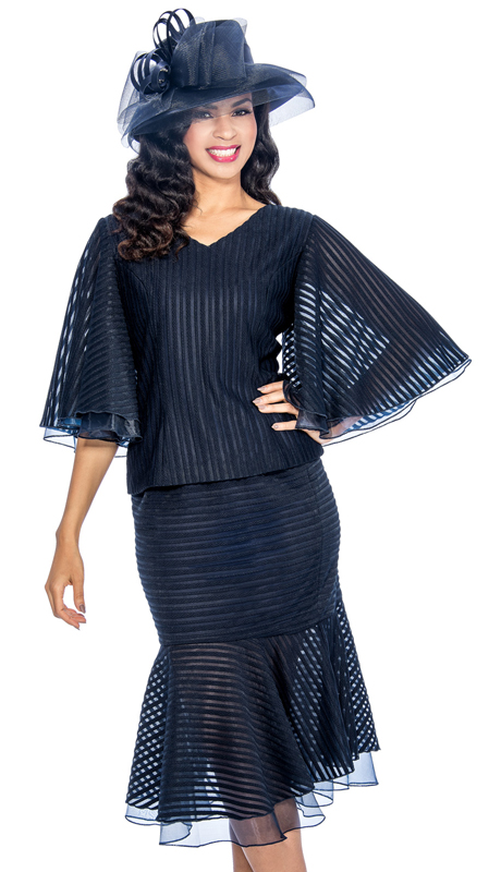 Giovanna 0890-NA ( 2pc Novelty With Three-Quarter Cape Sleeve, V-Neck Top And Layered Skirt )