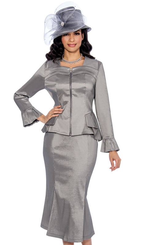 Giovana 0888-S-CO ( 2pc Shimmer Shantung With Layered Neckline, Zipper Front Jacket And Peplum Ruffle And Skirt Suit )