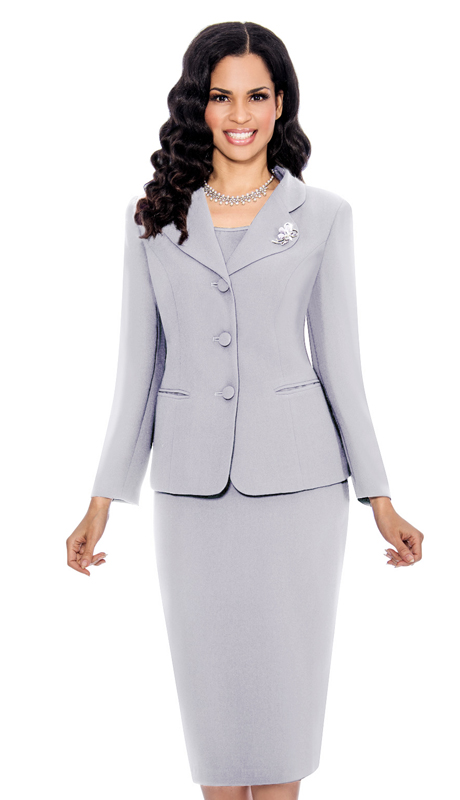 Giovanna 0824-SIL ( 3pc Peachskin Womens Suit With 3 Button Jacket, Cami And Skirt )