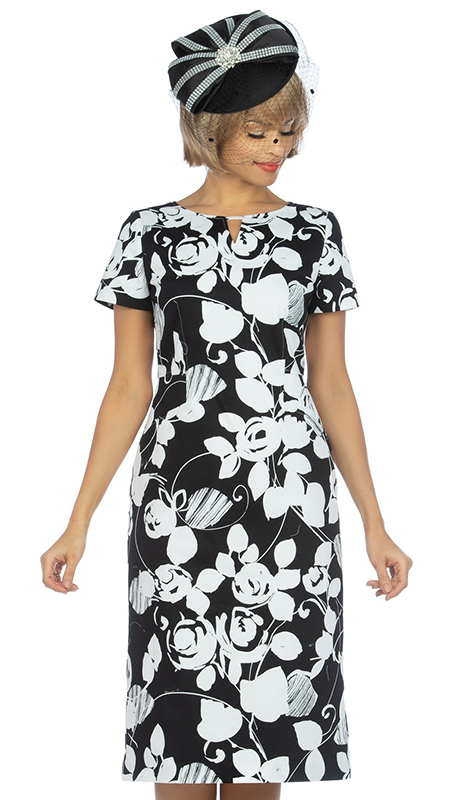 Giovanna D1514-BLK ( 1pc Novelty Short Sleeve Dress With Unique Multi Pattern )