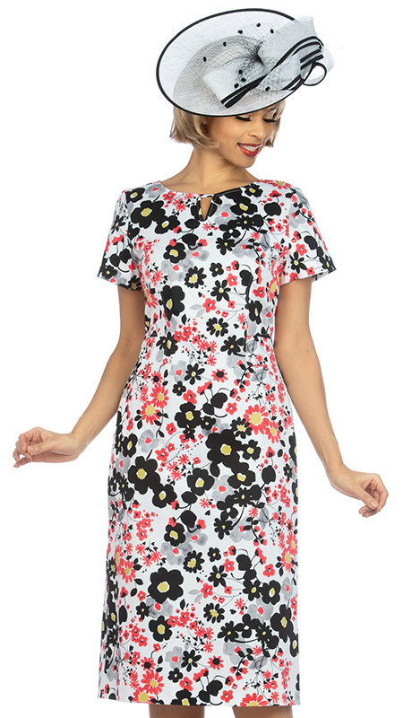 Giovanna D1514-MU2 ( 1pc Novelty Short Sleeve Dress With Unique Floral Pattern )