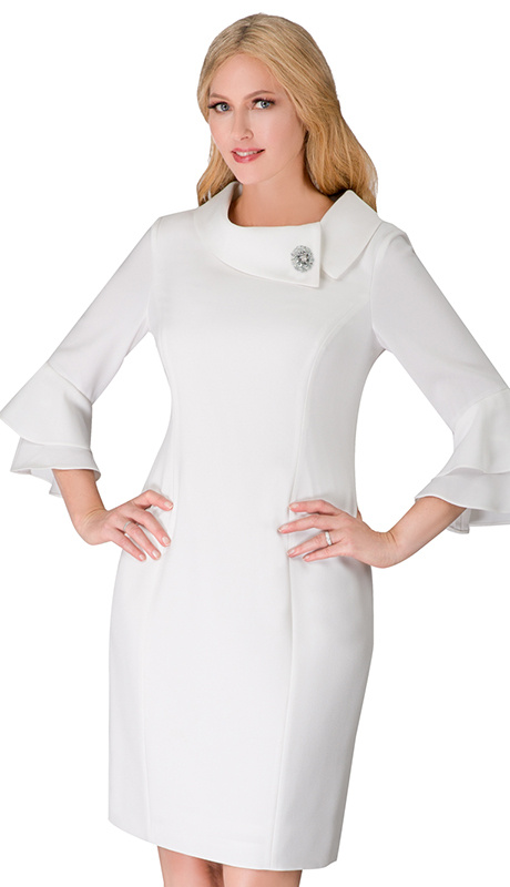 Giovanna D1518-WH ( 1pc PeachSkin Dress With Cowl Neck, 3/4 Ruffle Sleeve And Brooch )