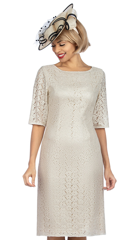 Giovanna D1513-CH  ( 1pc Elegant Lace Short Sleeve Dress For Church )