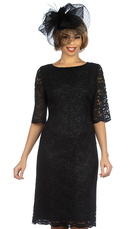 Giovanna D1513-BLK ( 1pc Elegant Lace Short Sleeve Dress For Church )