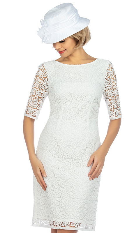 Giovanna D1513-WH ( 1pc Elegant Lace Short Sleeve Dress For Church )
