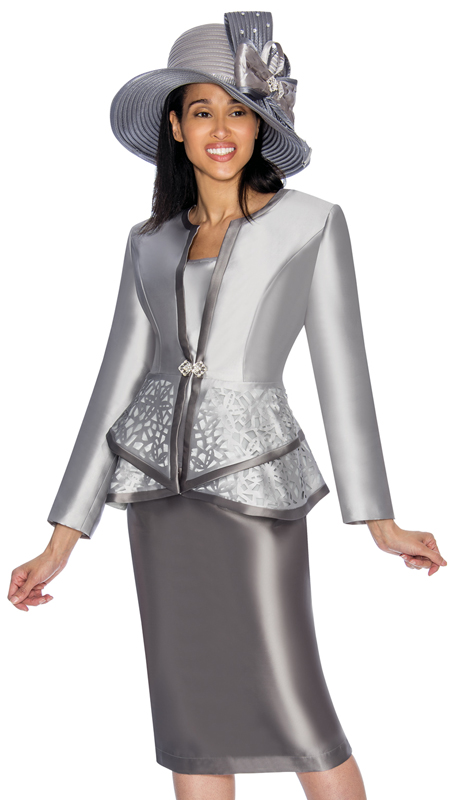 GMI 7013-SG-IH  ( 3pc Silk Look Womens Suit For Church With Peplum Jacket And Laser-Cut Pattern )