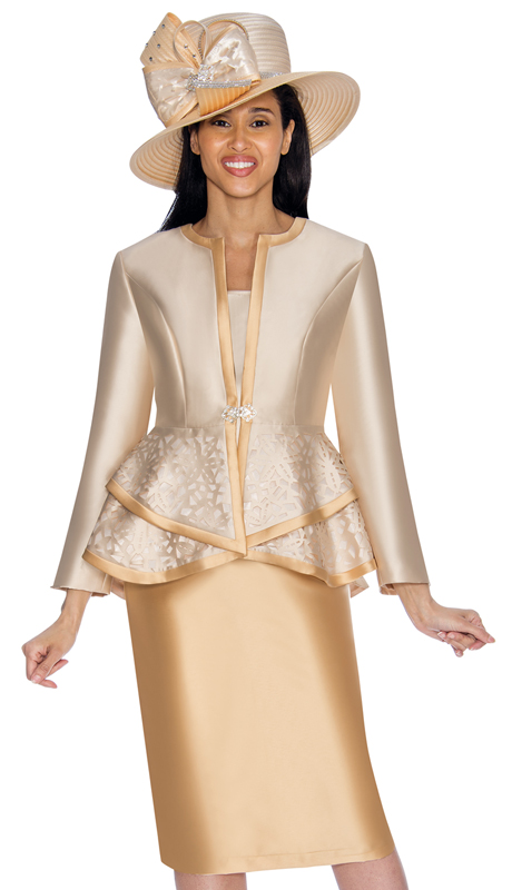 GMI 7013-CG-IH  ( 3pc Silk Look Womens Suit For Church With Peplum Jacket And Laser-Cut Pattern )